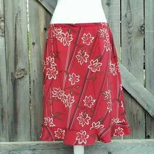 Sag Harbor Red Floral Midi Skirt with Flared Hem
